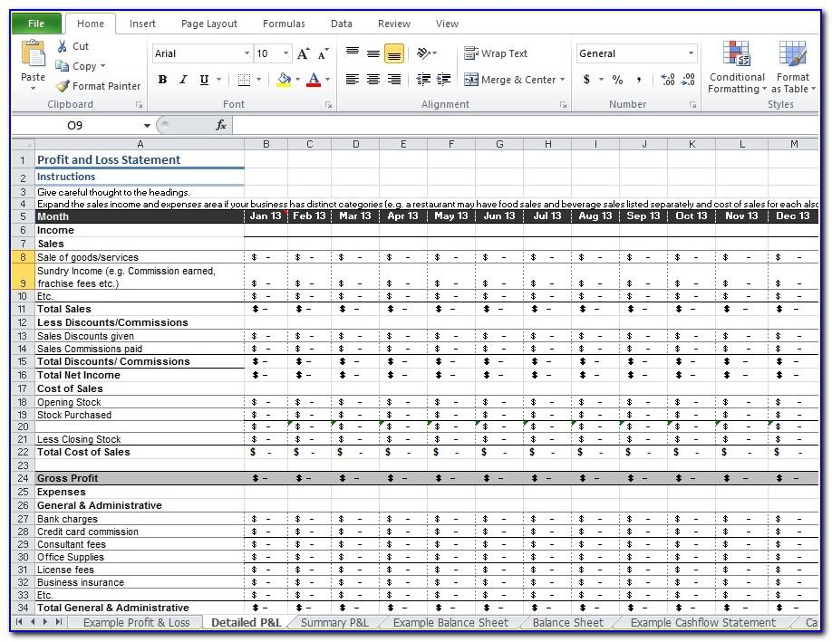 Profit And Loss Worksheet Template Free