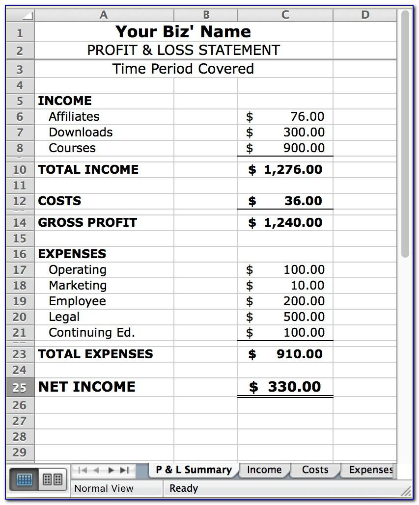 Profit Loss Excel Template
