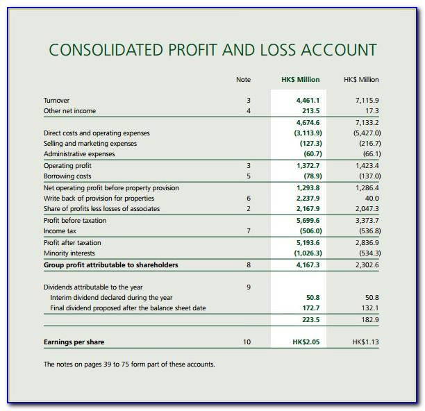 Profit Loss Statement Template Uk