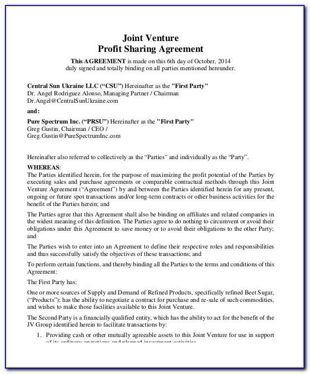 Profit Sharing Agreement Form