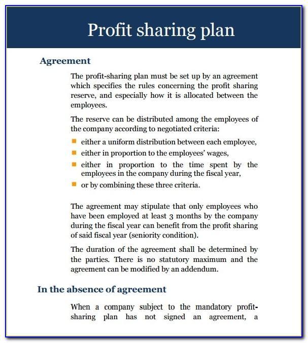 Profit Sharing Agreement Template Pdf