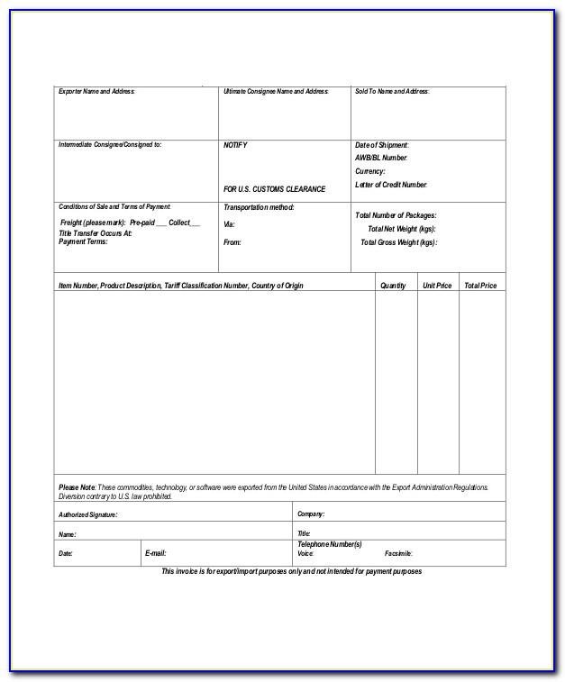 Proforma Invoice Format Download