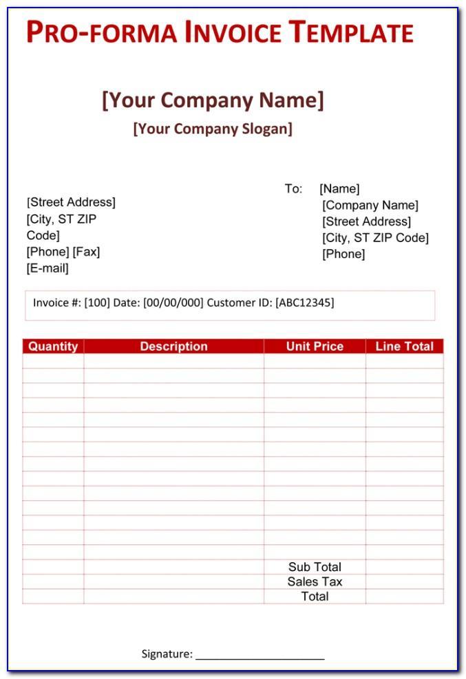 Proforma Invoice Format Excel