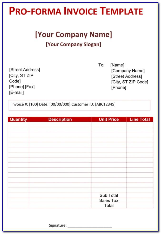 Proforma Invoice Format Word