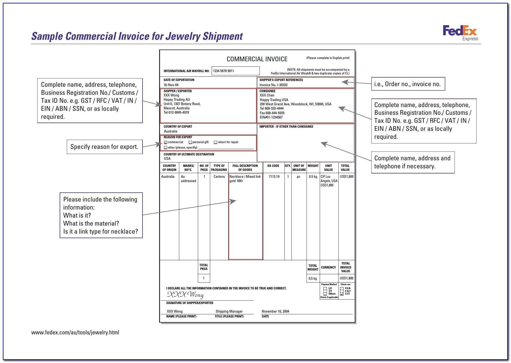 Proforma Invoice Sample Download