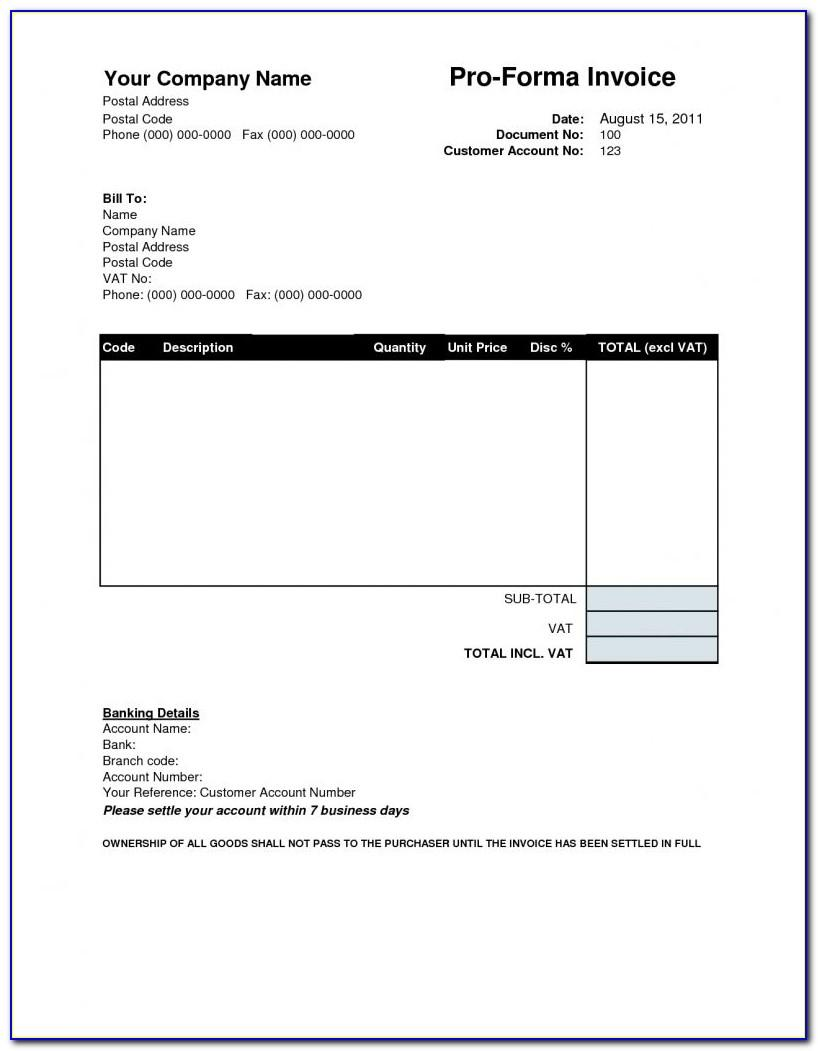 Proforma Invoice Template Excel 2007