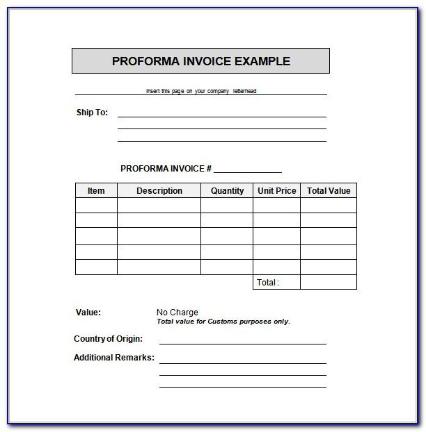 Proforma Invoice Template Google Docs
