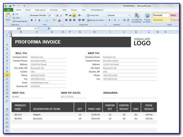 Proforma Invoice Template Quickbooks