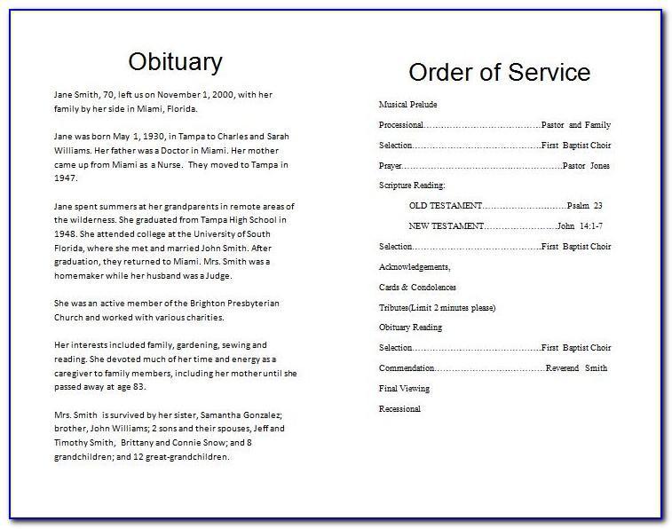 Program Template Funeral Service