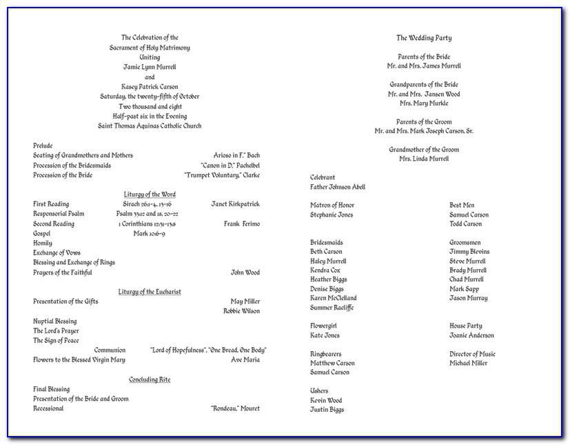 Programs For Catholic Weddings Templates