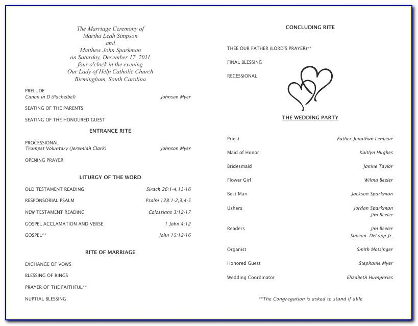 Programs For Wedding Ceremony Template