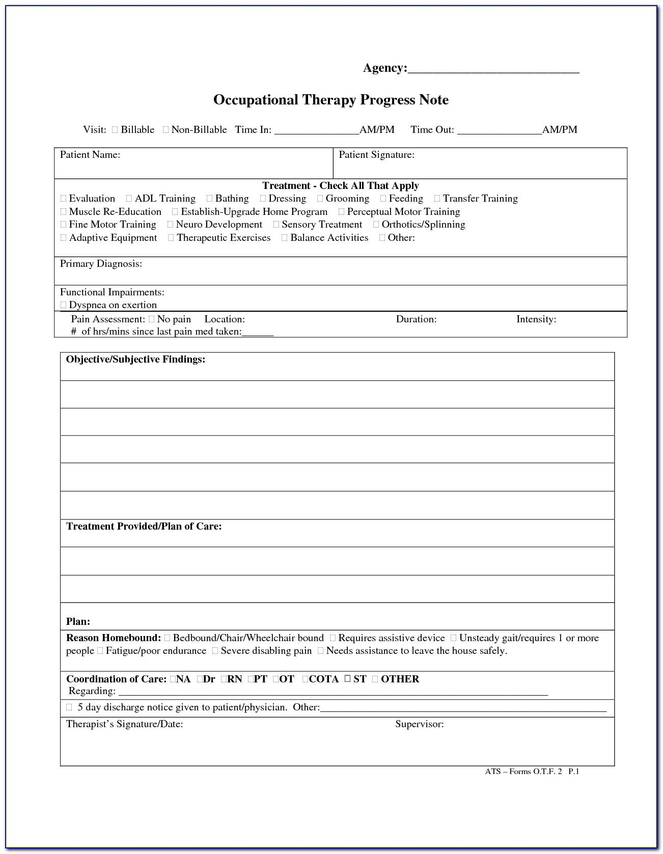 Progress Note Template For Physical Therapy