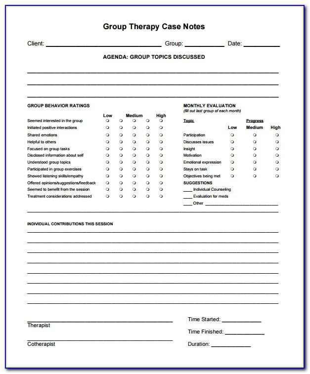 Progress Notes Template Social Work