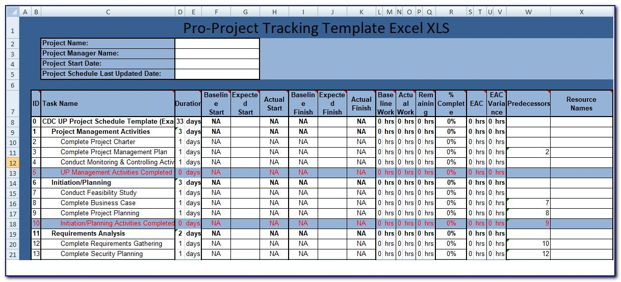 Project Activity Tracker Excel Template