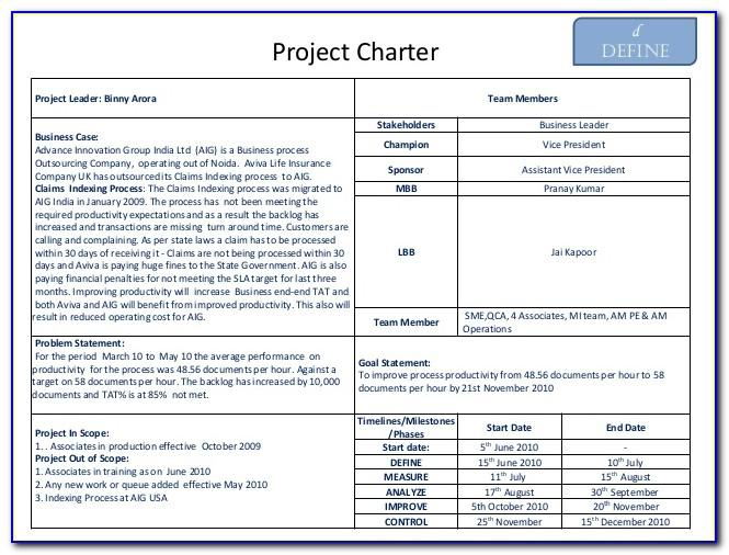 Project Charter Powerpoint Template Free