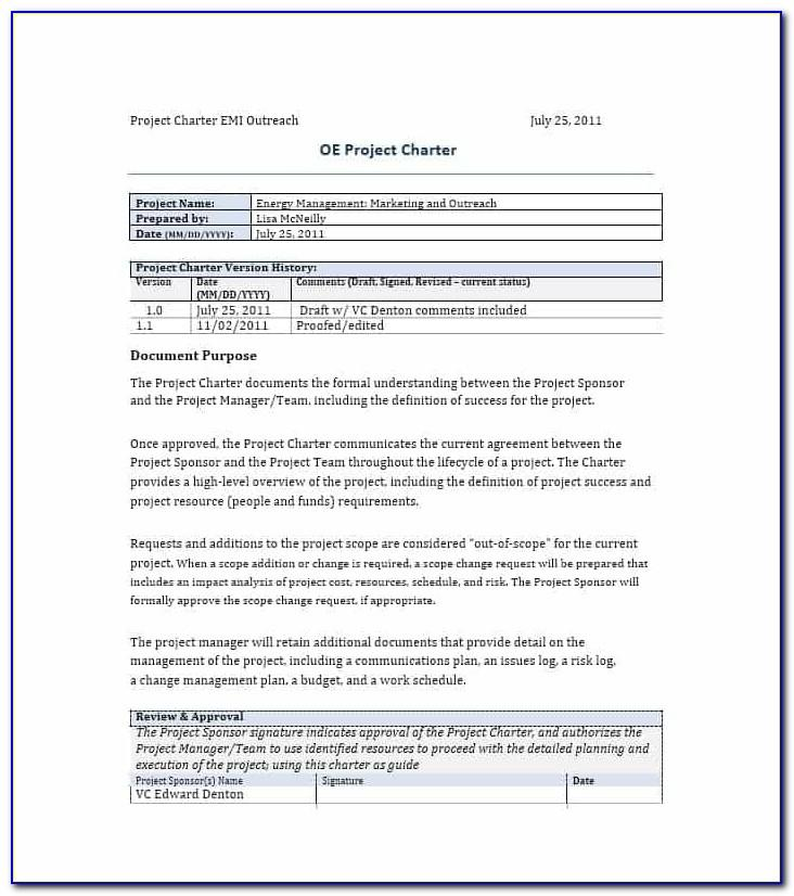 Project Charter Risk Management Example