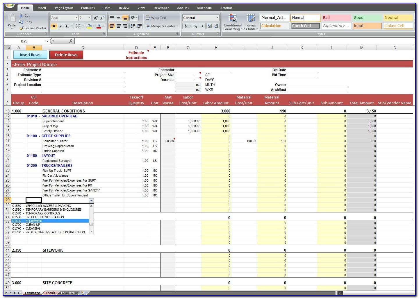 Project Cost Forecast Template