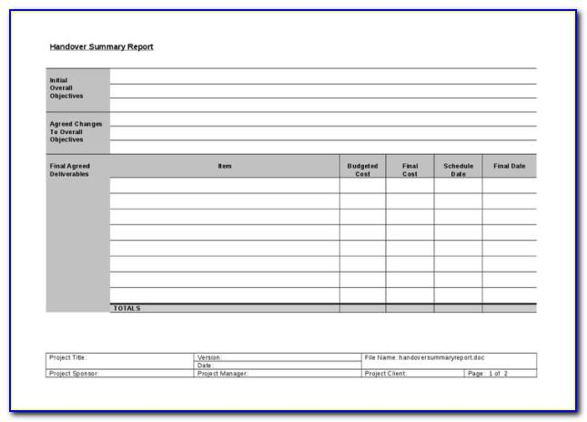 Project Handover Document Template Excel