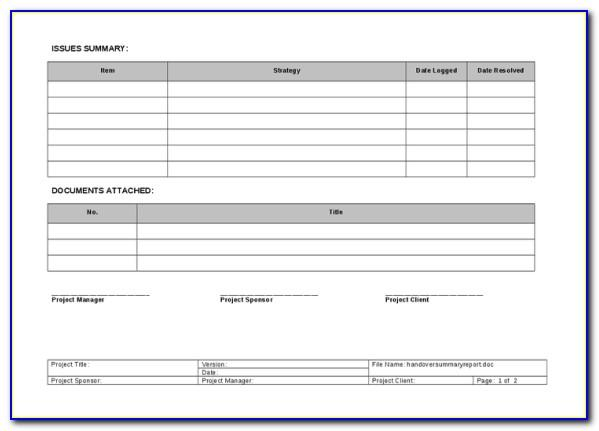 Project Handover Report Template Word