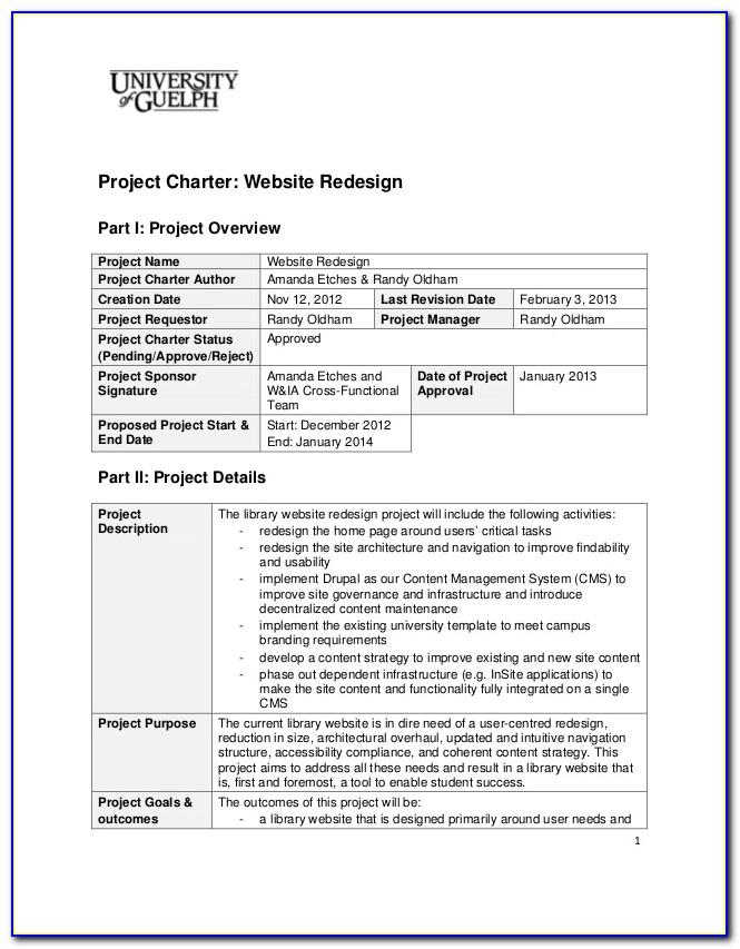 Project Management Charter Template Free
