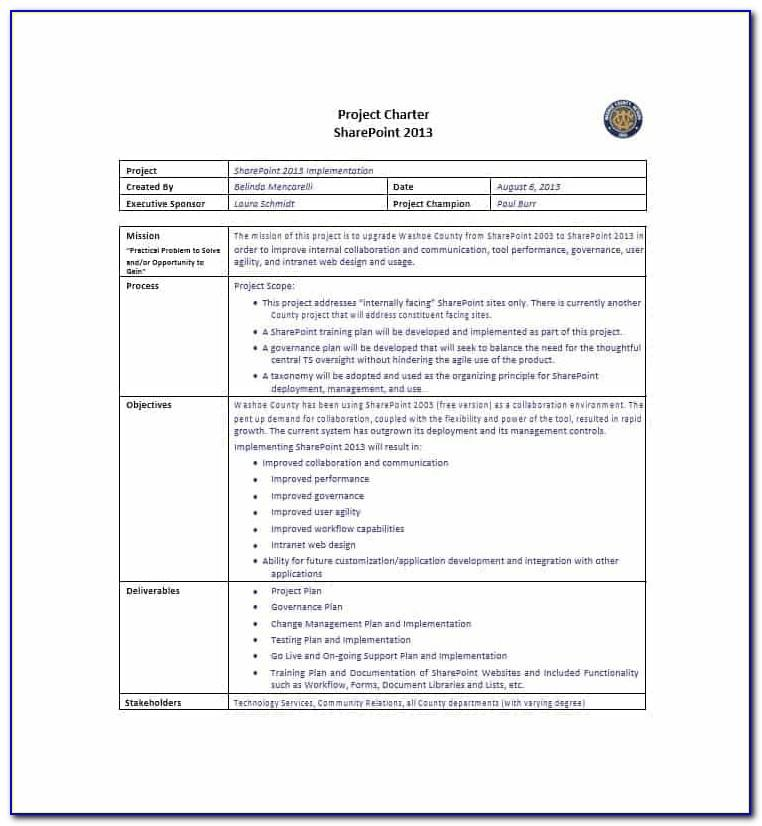 Project Management Charter Template Word