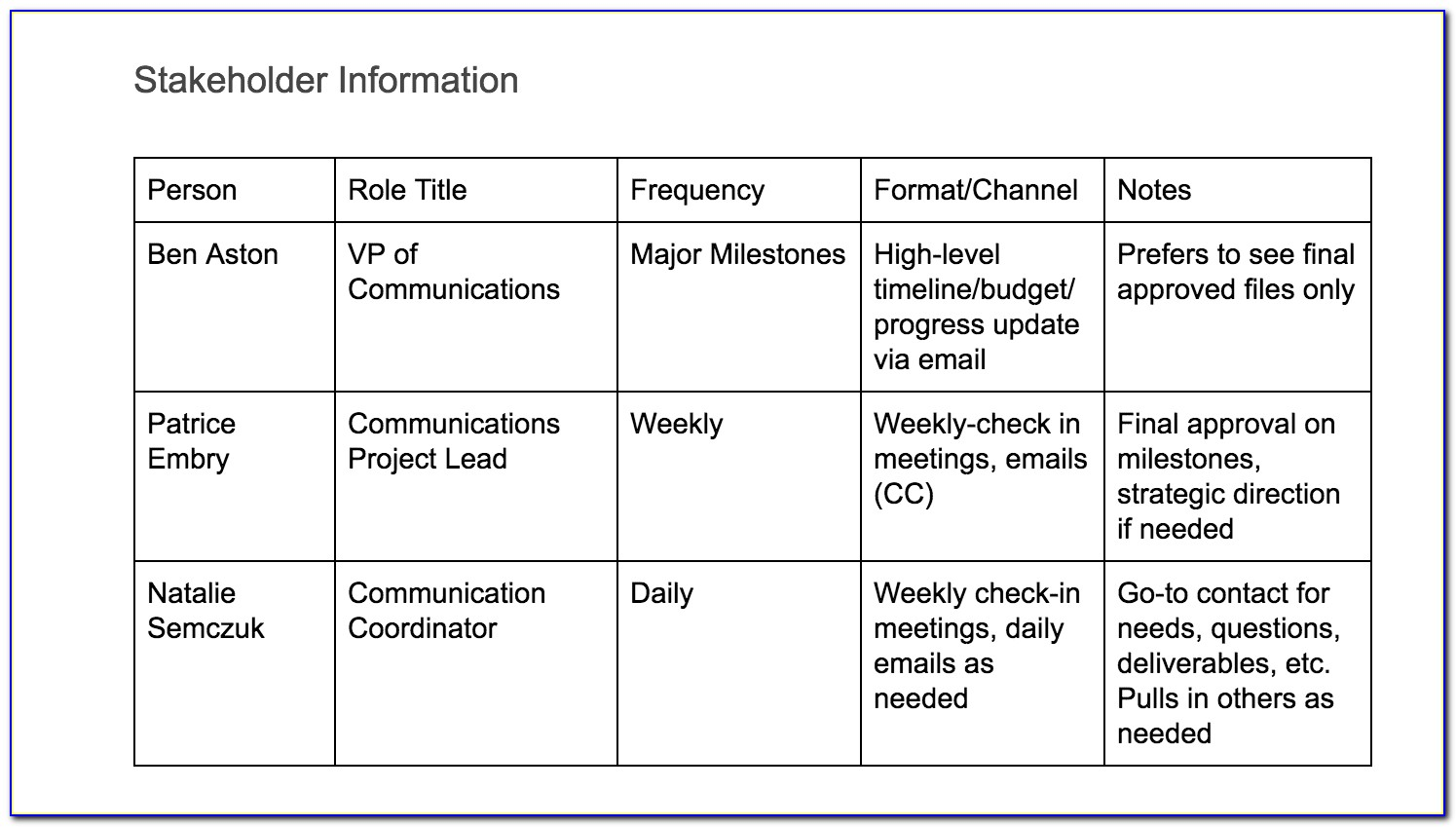 Project Management Communication Plan Template Example