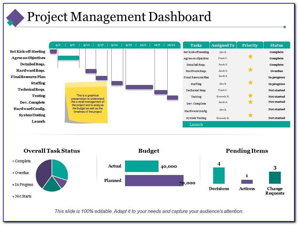 Project Management Excel Dashboard Templates Free