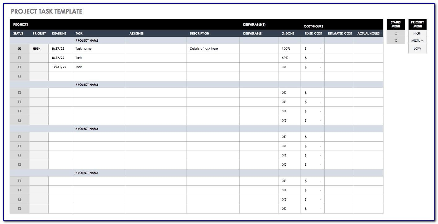 Project Management Excel Template Xls