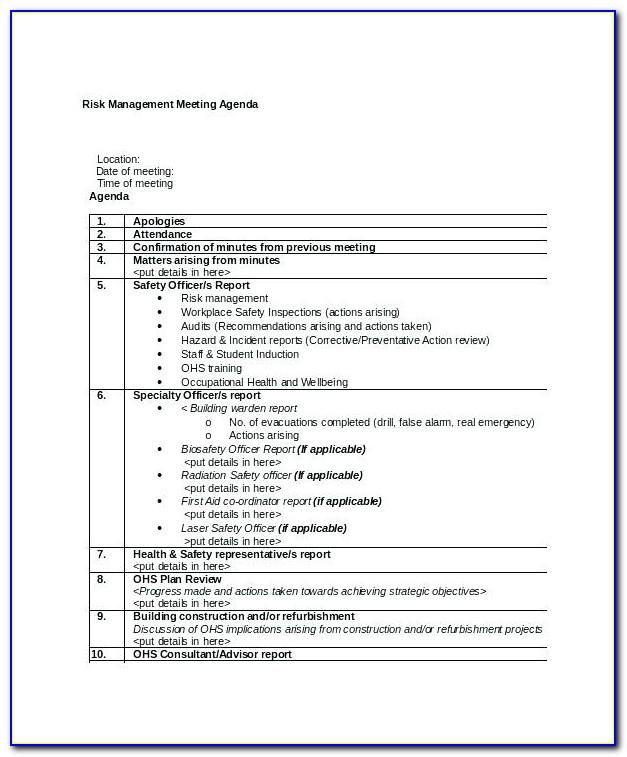 Project Management Meeting Agenda Template Free