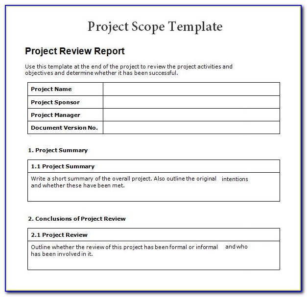 Project Management Scope Of Work Document Template