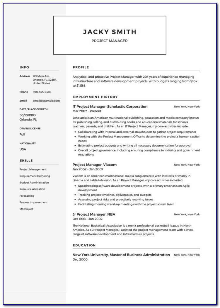 Project Manager Cv Template Doc