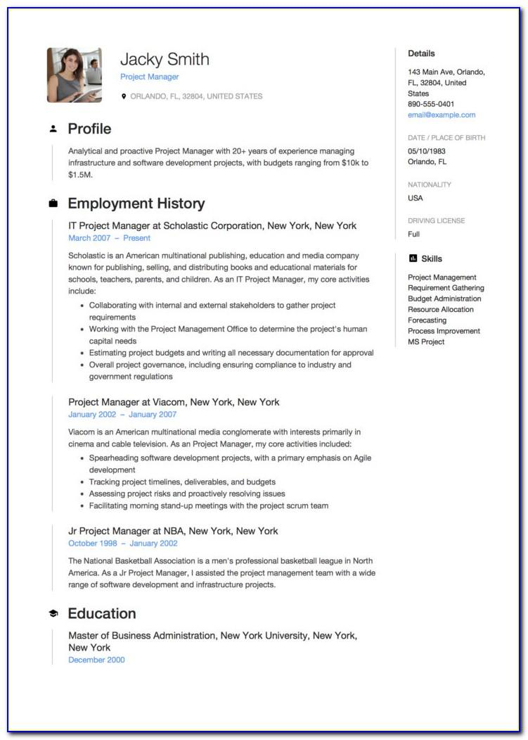 Project Manager Resume Sample India