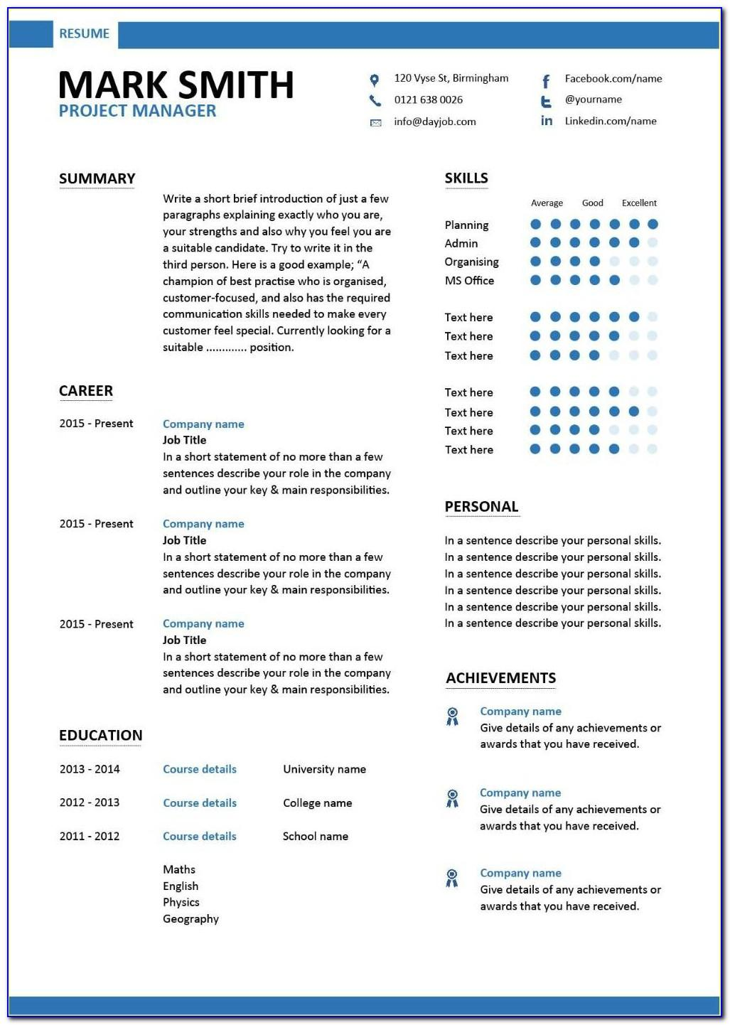 Project Manager Resume Template Free