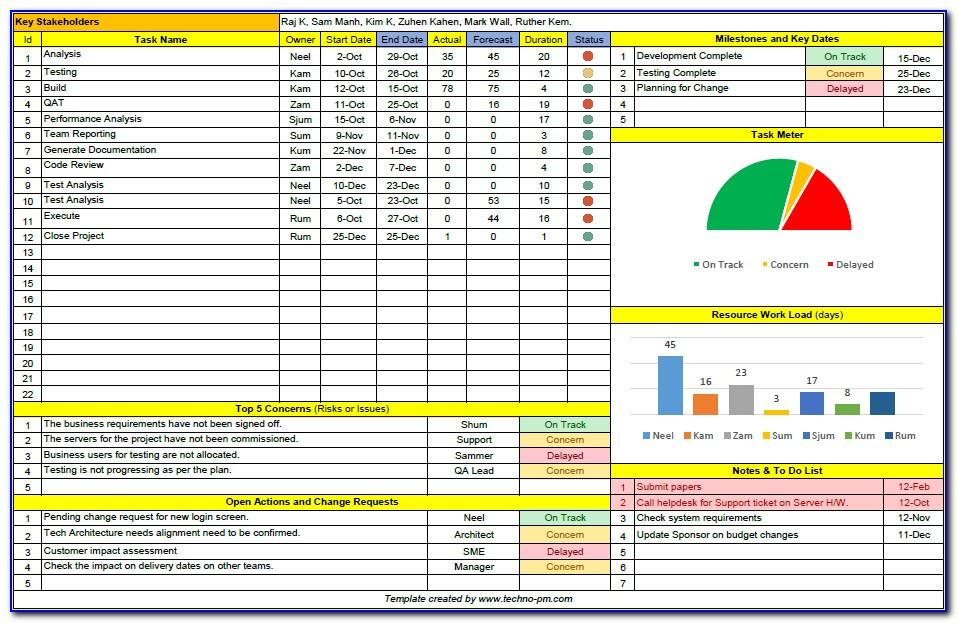 Project Sheet Template Excel