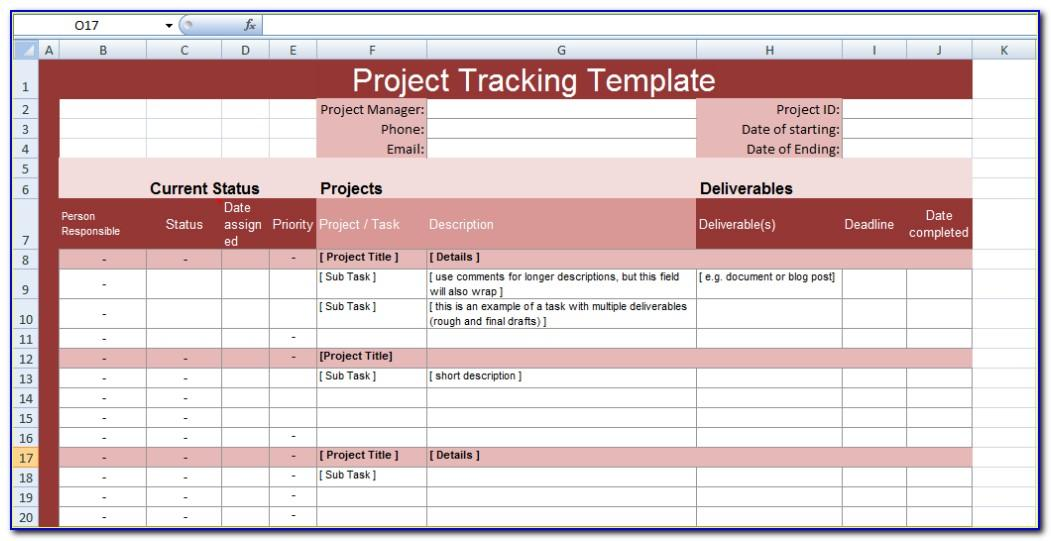 Project Status Tracking Excel Template
