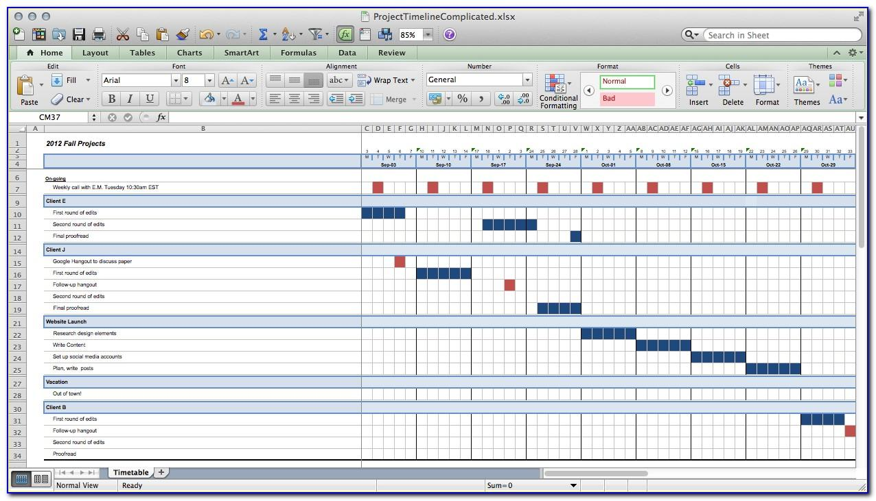 Project Timeline Template Excel Mac
