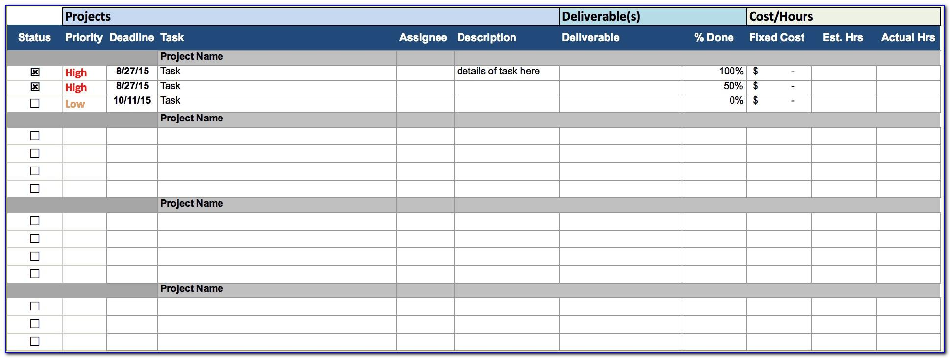 Project Tracking Sheet Template