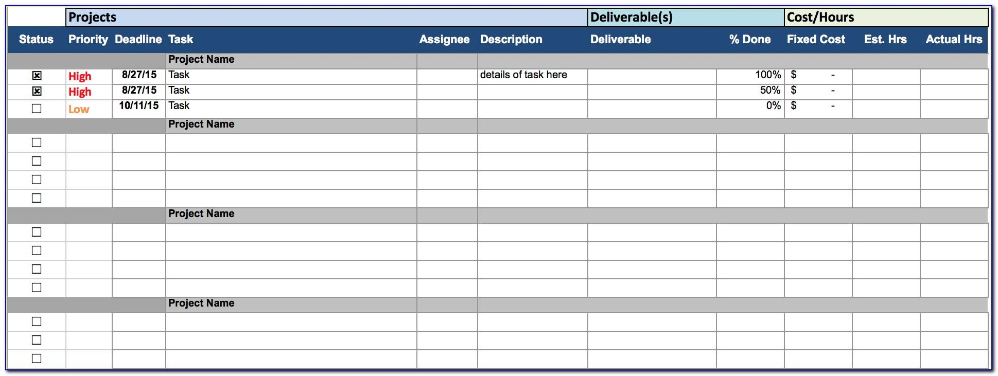 Project Tracking Spreadsheet Sample