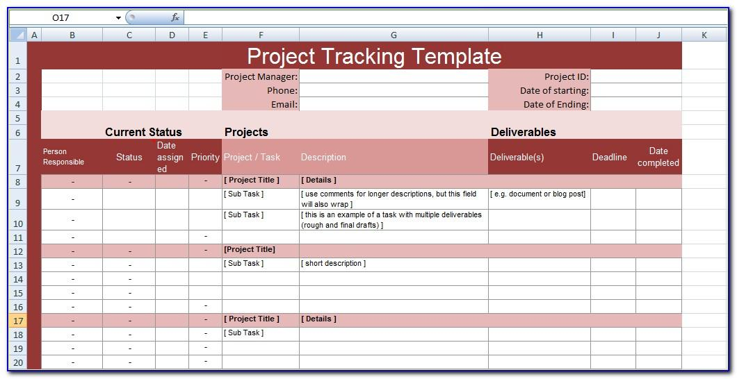 Project Tracking Templates Excel