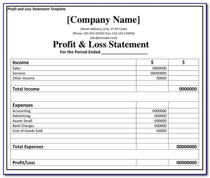 Projected Profit And Loss Account And Balance Sheet Format