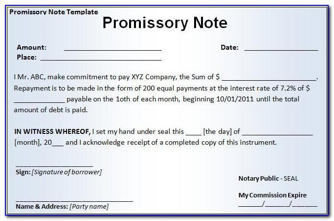 Promissory Note Format Word Format India