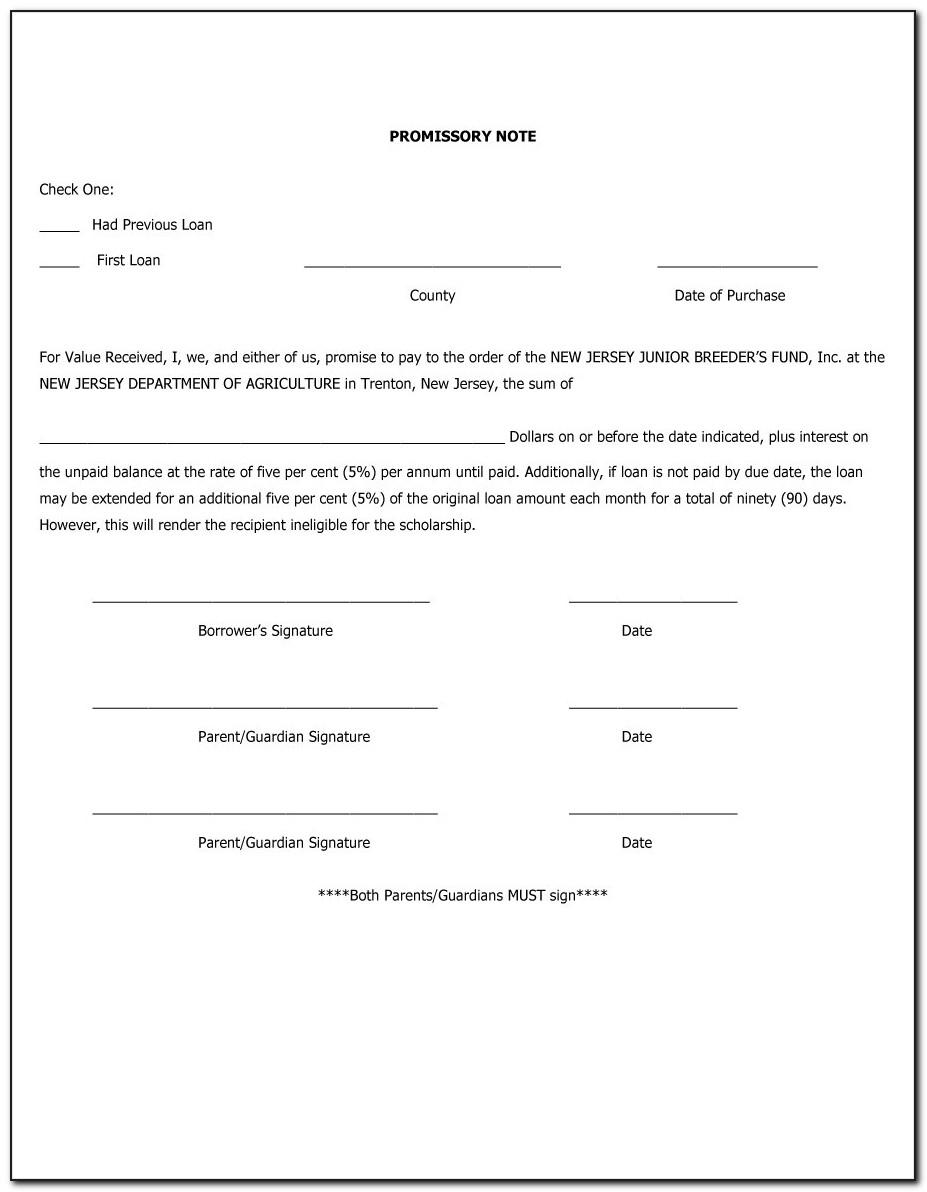 Promissory Note Free Template Canada
