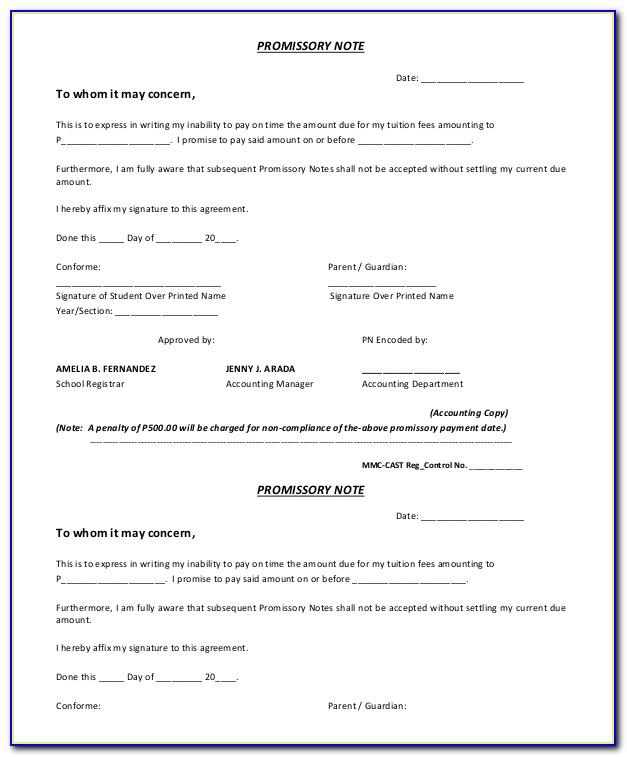 Promissory Note Payment Template