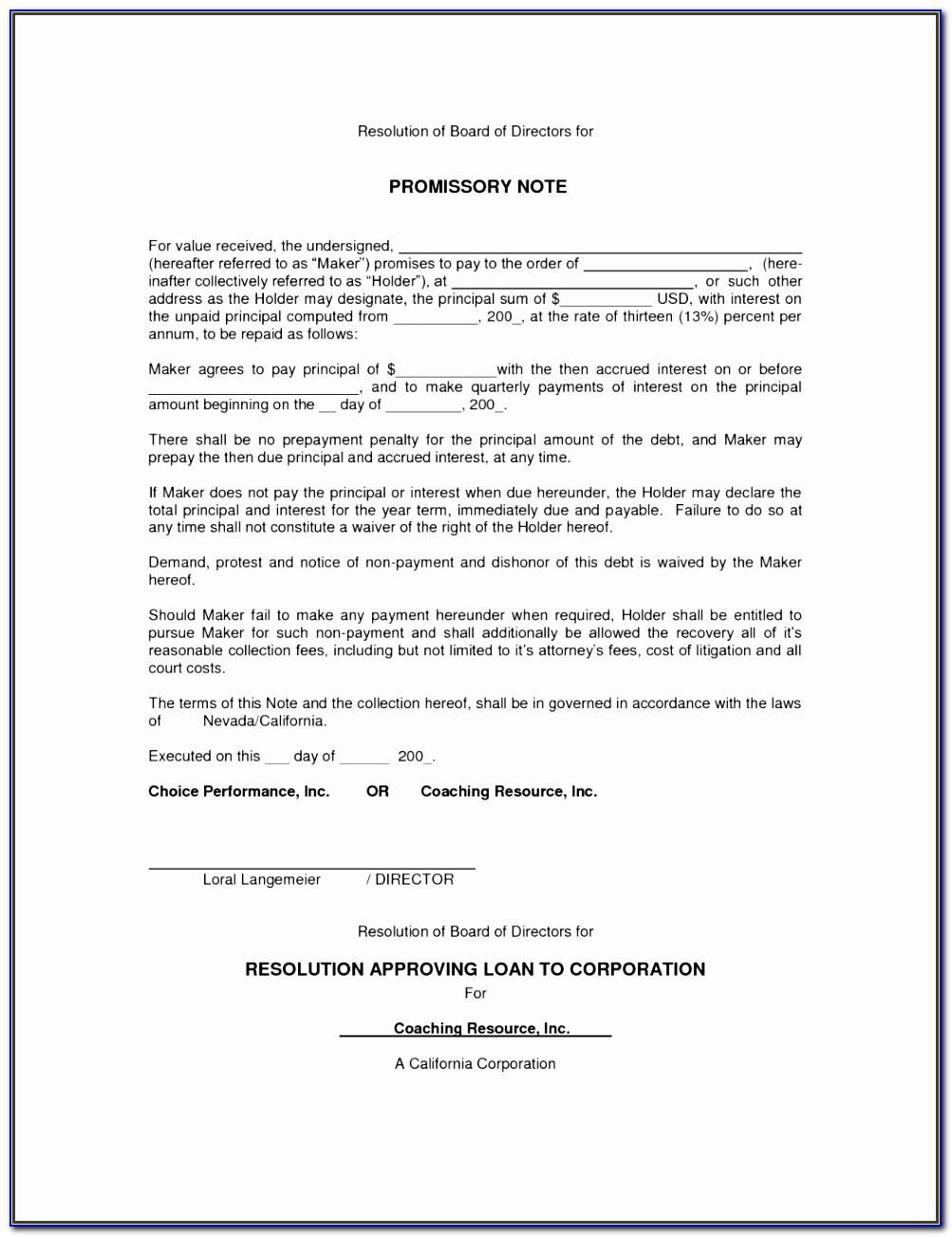 Promissory Note Template Bc Free
