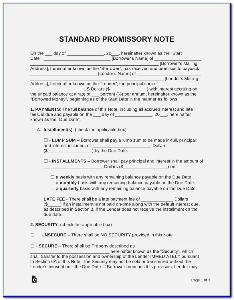 Promissory Note Template Uk Free