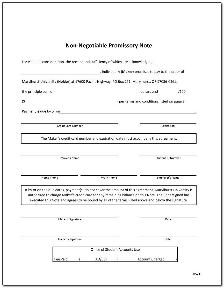 Promissory Note Template Word Free