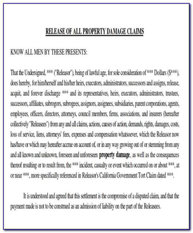 Property Damage Release Form Notarized
