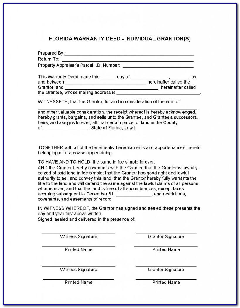 Property Deed Form Florida