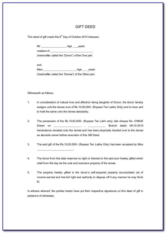 Property Gift Deed Template