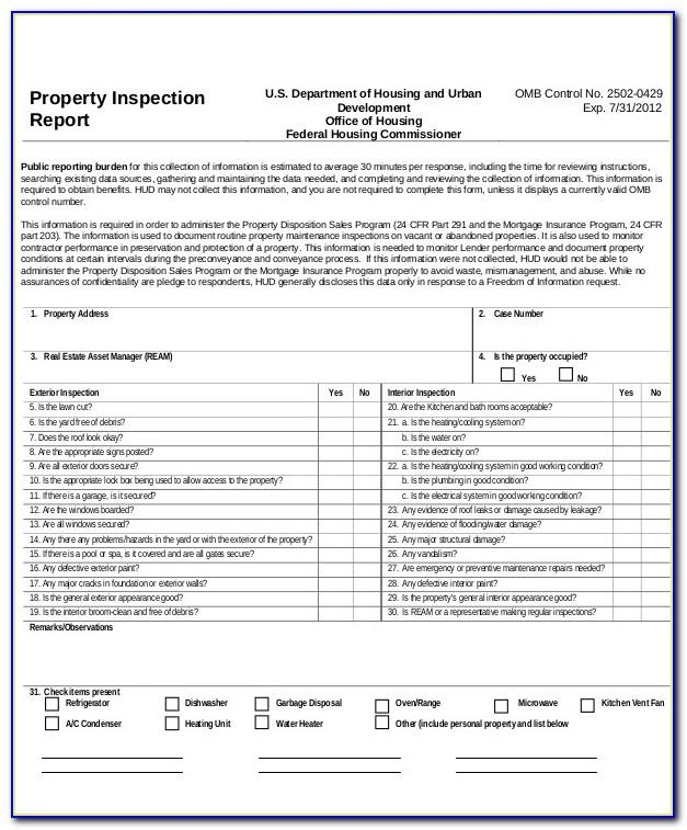 Property Inspection Checklist Template